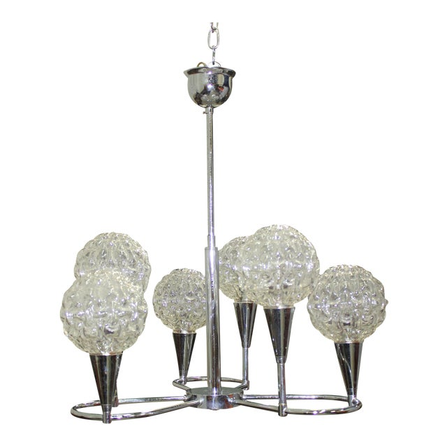 Circa 1960s French Mid Century Six Light Chrome Chandelier For Sale