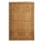 Image of Antique Kayseri Beige and Mauve Silk Rug- 5′4″ × 7′9″ For Sale