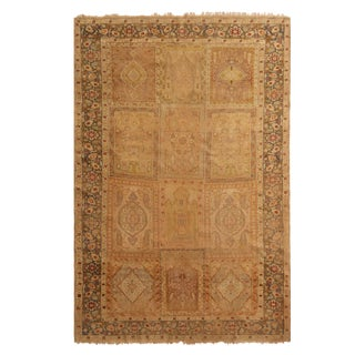 Antique Kayseri Beige and Mauve Silk Rug- 5′4″ × 7′9″ For Sale
