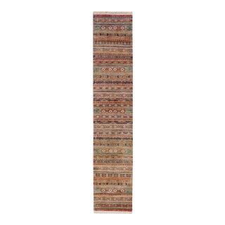 Kurjean Garish Kristoph Rust & Blue Wool Rug - 2'9 X 13'6