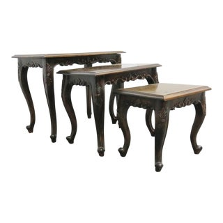 Louis XV Style Walnut Nesting Tables - Set of 3 For Sale