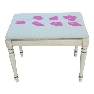 Early 1900s Shabby Chic Distressed Painted Vanity Stool Bench by Kindel For Sale