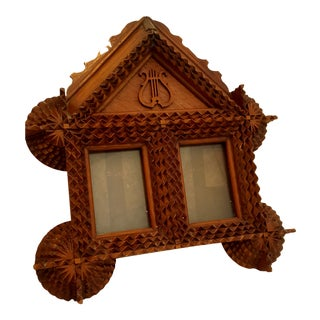 Antique Tramp Folk Art Double Picture Frame For Sale