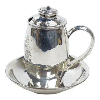 Late 19th Century Tsarist Era Russian 875 Silver Mustard Pot & Saucer For Sale