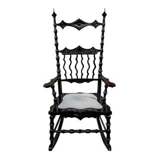 1990s Vintage Ebonized Gothic Rocking Chair For Sale