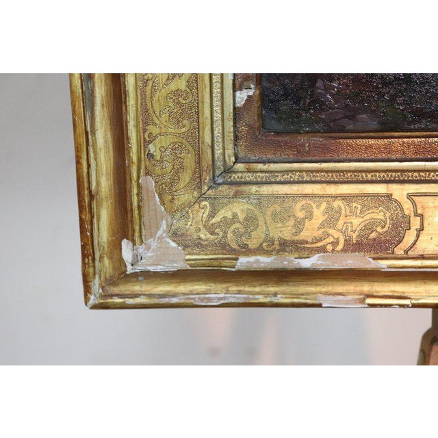 Italian Oil Painting Mountain Landscape With Golden Frame For Sale - Image 4 of 13