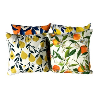 "18"" X 18"" Citrus Garden With Lemon Orange Pear Decorative Pillow Covers – Set of 4 For Sale"