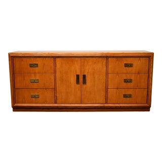 Stanley Furniture Oak Campaign Style Triple Door Dresser For Sale
