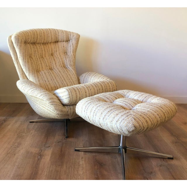 Mid-Century Swedish Tufted Egg Swivel Chair With Swivel Ottoman For Sale - Image 11 of 12