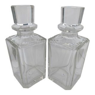 Vintage Cut Glass Decanters With Stoppers - A Pair