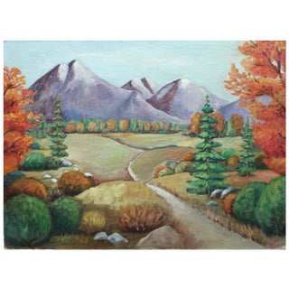 Autumn Pathway Landscape Painting For Sale