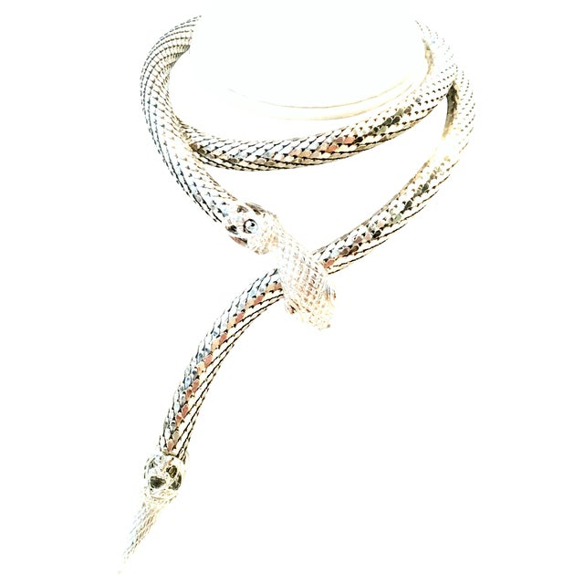 70's Silver Metal Mesh Coil Snake Whiting & Davis Necklace For Sale