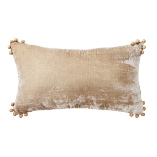 Omni Taupe Silk Velvet Lumbar Pillow For Sale