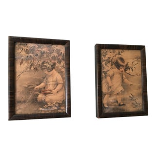 Early 20th Century Antique Little Girl With Birds Prints - A Pair For Sale