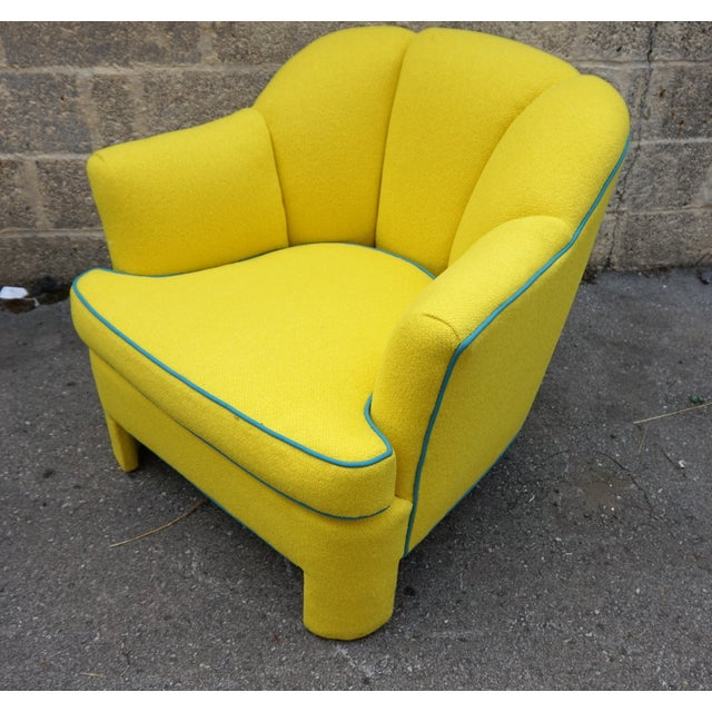 Vintage 80s Yellow Club Chair & Ottoman - Image 8 of 8