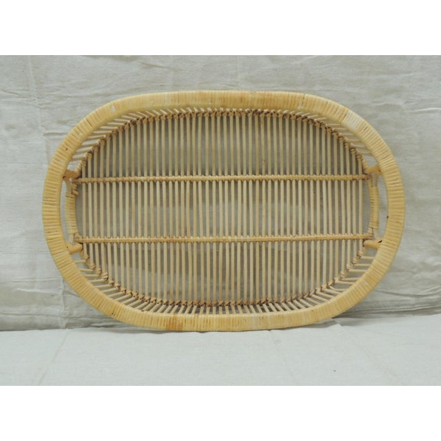Vintage Rattan Woven Oval Serving Tray With Handles For Sale In Miami - Image 6 of 6