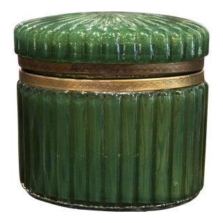 French Glass Dresser Box With Brass Trim For Sale
