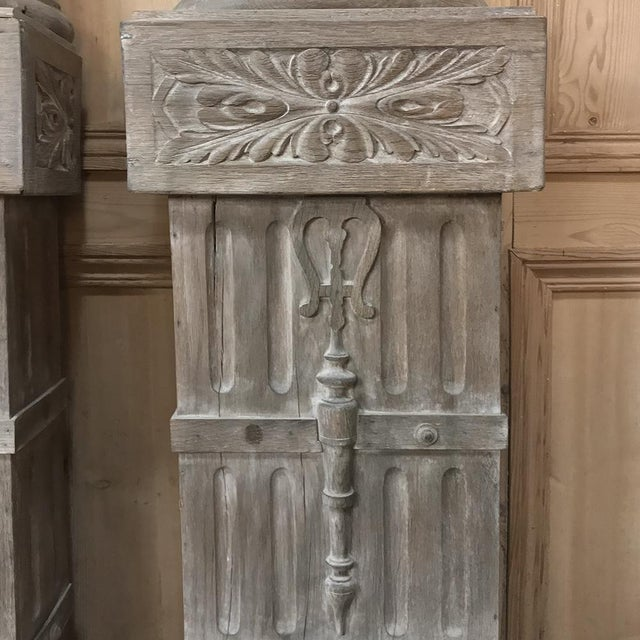 Pair French Architectural Corinthian Weathered Oak Hand Carved Columns, Ca. 1890s For Sale - Image 4 of 13