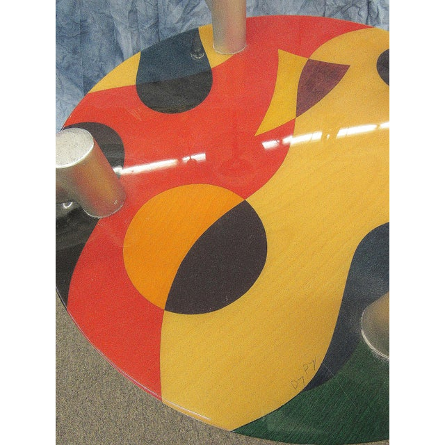 1980s Abstract Art Untitled Pedestal or Accent Table For Sale - Image 9 of 13