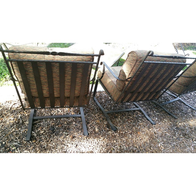 Hand Forged Wrought Iron Patio Lounge Chairs - Set of 4 - Image 6 of 7