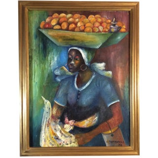 1979 Haitian Fauvist Portrait Painting, Signed Oil on Canvas For Sale