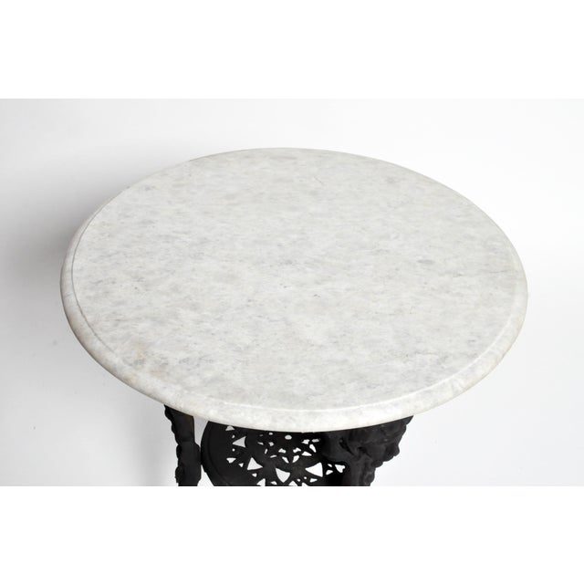 Round Table with Iron Legs and Marble Top - Image 6 of 11