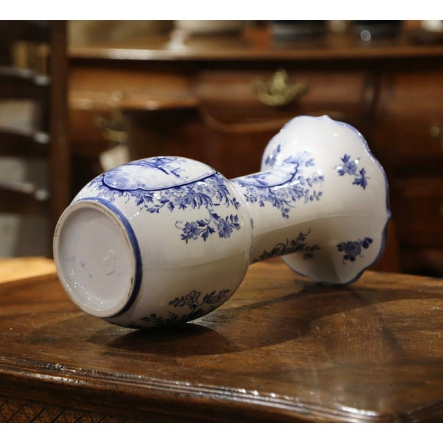 Early 20th Century Dutch Blue and White Hand Painted Faience Delft Vases - a Pair For Sale - Image 9 of 10