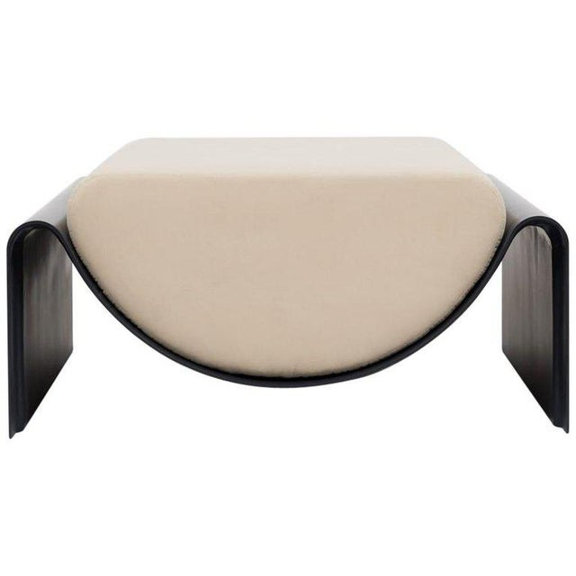 White Asa Pingree Eclipse Fiberglass Upholstered Ottoman, Midnight Blue For Sale - Image 8 of 8