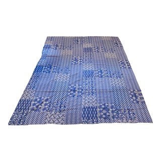 Abstract Patterned Blue Kantha For Sale