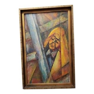 Abstract Oil Painting Titled Amate of Female Figure