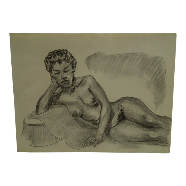 "1956 Mid-Century Modern Original Drawing on Paper, ""Laying Sideways Nude"" by Tom Sturges Jr. For Sale"