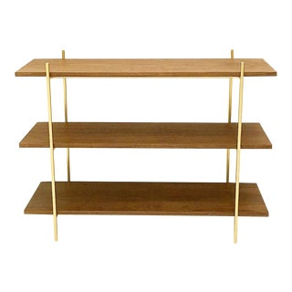 Walnut and Gold Low Metal Shelf