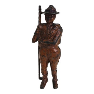 Antique Cast Iron Boy Scout Coin Bank For Sale