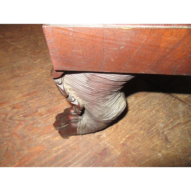Antique Empire Paw Foot Crotch Mahogany Chest of Drawers For Sale - Image 9 of 13