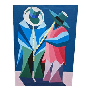 Vintage 1980s Large Scale Cubist Abstract Portuguese Painting For Sale