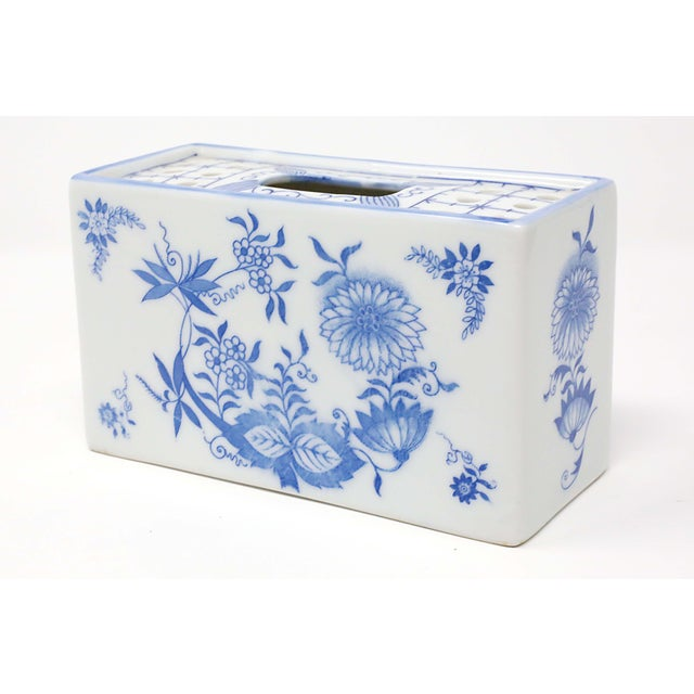 Japanese Blue and White Porcelain Flower Brick For Sale - Image 9 of 9