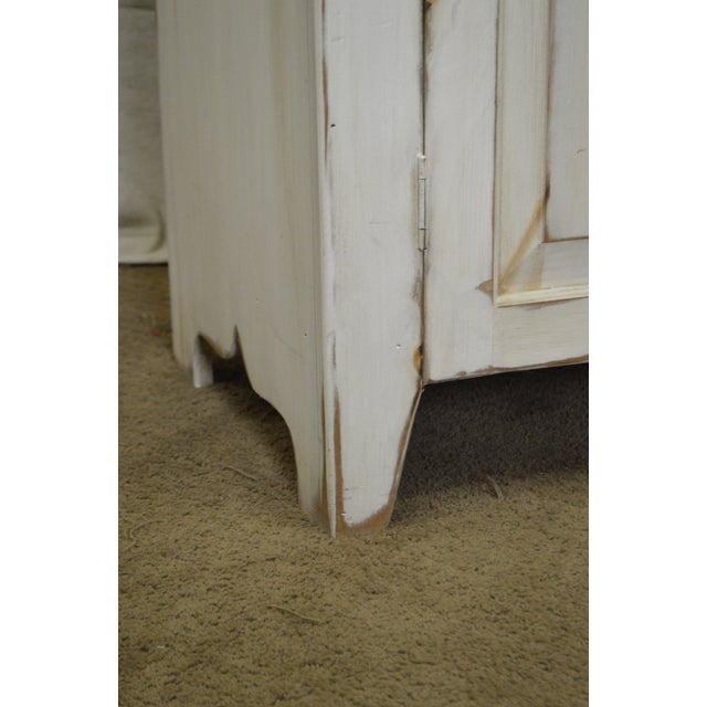 Farmhouse Primitive Style Custom Painted Step Back Cupboard For Sale - Image 4 of 11