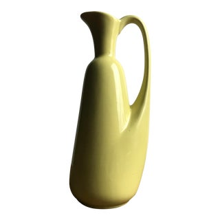 Mid Century Lemon Glazed Porcelain Olive Oil Pitcher For Sale
