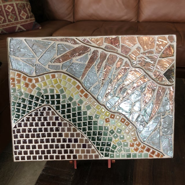 1960s Vintage Tile Glass and Copper Encased Mosaic Wall Hanging For Sale - Image 11 of 12