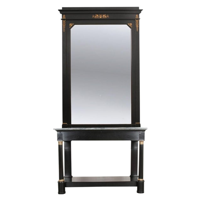 French 19th Century Second Empire Ebonized Console and Mirror For Sale