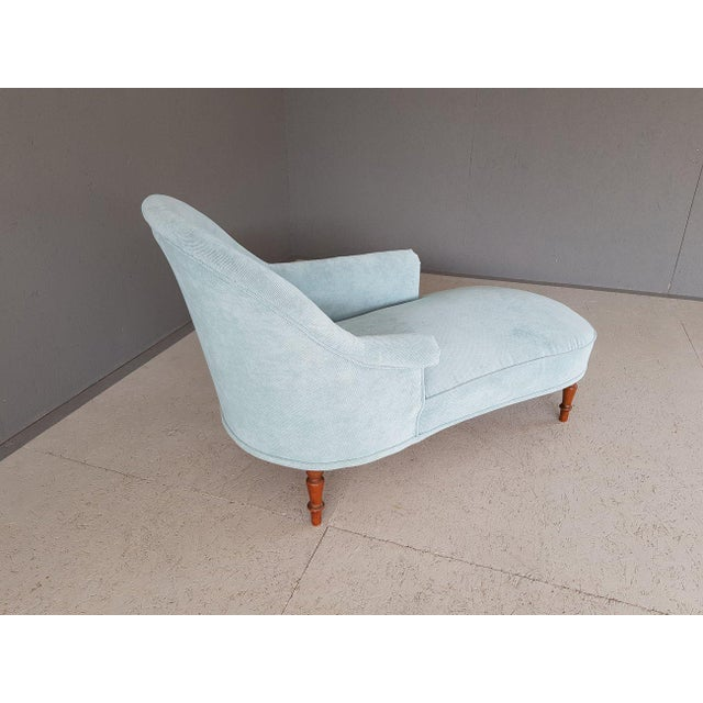 Wood Upholstery Blue French Style Chaise Lounge For Sale - Image 7 of 13