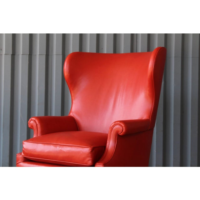 1940s Orange Leather Wingback Armchair For Sale - Image 9 of 11