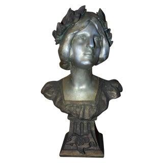 Antique Art Nouveau French Bronzed Enid Bust For Sale