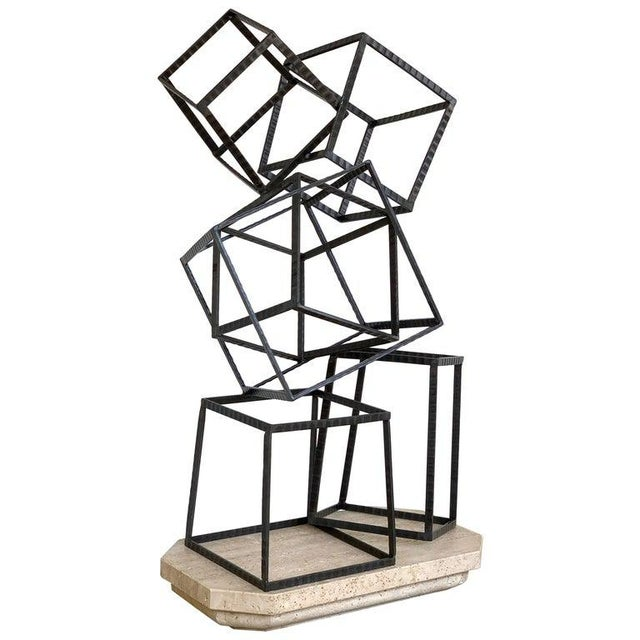 Modern Forged Iron & Travertine Quadrilaterals Sculpture For Sale - Image 11 of 11
