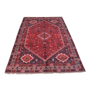 """Antique Persian Hand Knotted Qashqai Rug - 6'9"""" x 9'9"""""""