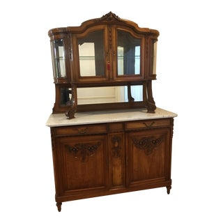 Antique Marble Walnut Sideboard China Cabinet For Sale