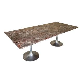 Large Custom Modern Double Tulip Base Rectangular Marble Table of Guodin Lilac Marble Aft Eero Saarinen For Sale