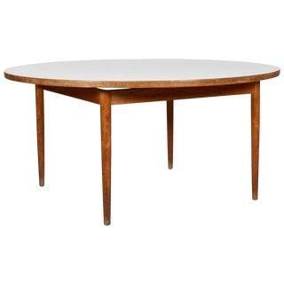 Vintage Mid Century Danish Modern Teak Laminate Round Dining Table For Sale