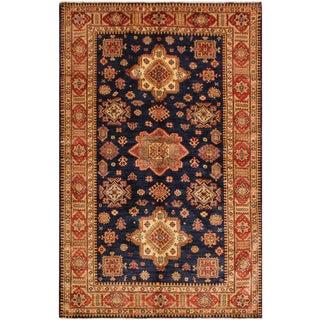 Super Kazak Garish Jonie Blue/Red Wool Rug - 5'7 X 7'3 For Sale