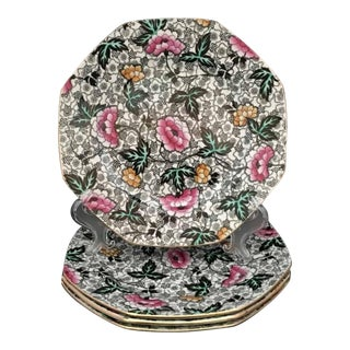 1910s Jacobean Chintz Octagonal Salad Plates, F. Winkle, England - Set of 4 For Sale